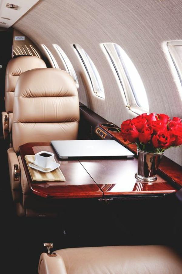 avion-privé-fleurs-roses-canapé-en-cuir-beige