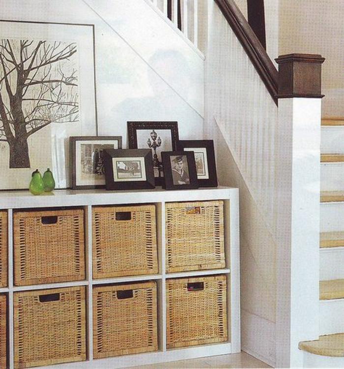 boites-de-rangement-en-bois-etagere-commode-en-bois-couloir-entrée