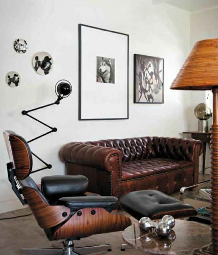 canapé-en-cuir-salon-en-cuir-peinture-décoration-murale-lampe-de-lecture-table-basse-de-salon