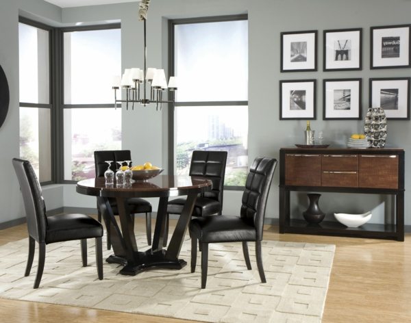 chaises-de-salle-à-manger-deco-luxe-noir-tapis-beige