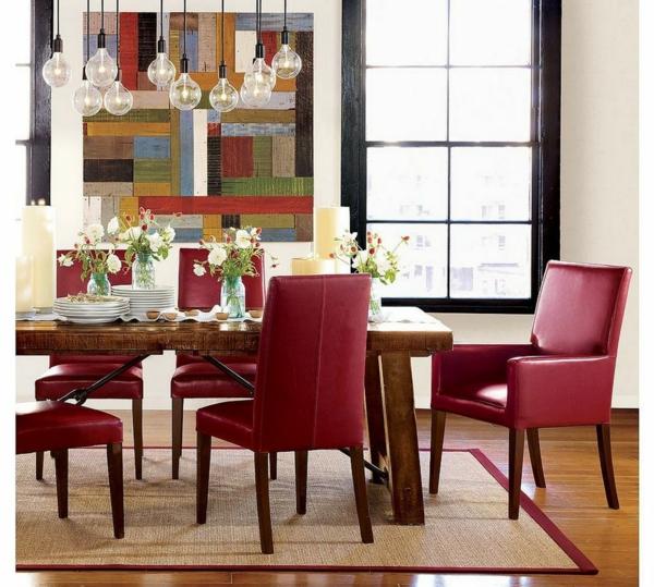 chaises-de-salle-à-manger-deco-luxe-rouge