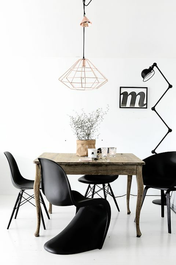 Les chaises de salle manger 60 id es for Lustre moderne salle a manger