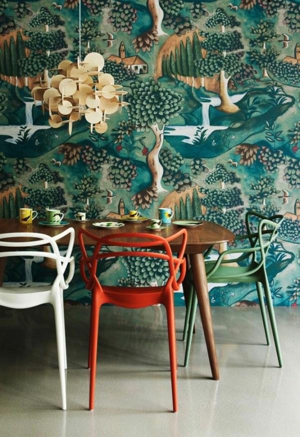 chaises-salle-a-manger-design-mur-peinture