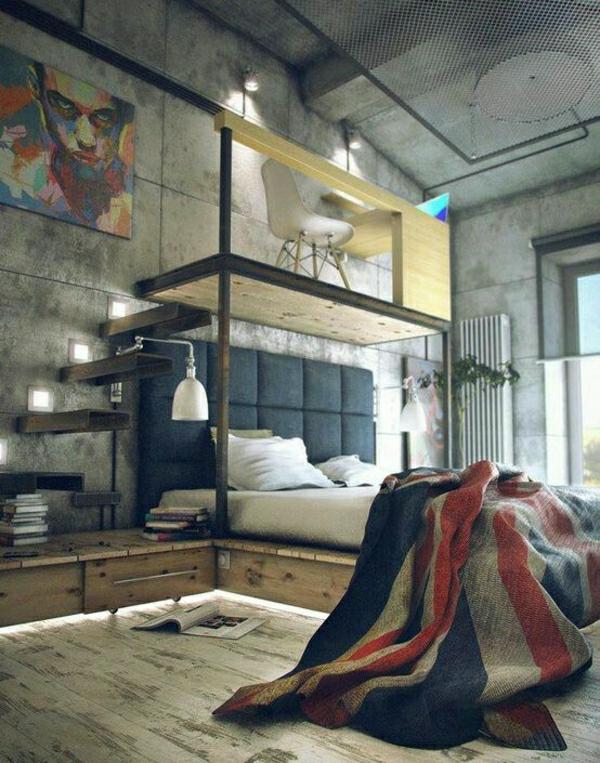 chambre-a-coucher-intérieur-industriel-peintures-chambre-d-adolescent-garçon