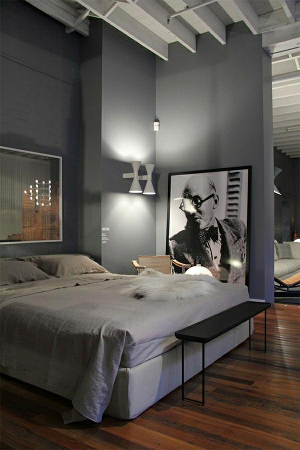 chambre-a-coucher-murs-gris-lampe-liseuse-blanc-idée-créative-sol-en-parquet