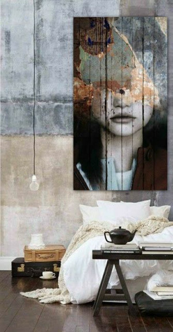chambre-a-coucher-peinture-murale-table-de-chevet-en-bois-sol-en-parquet