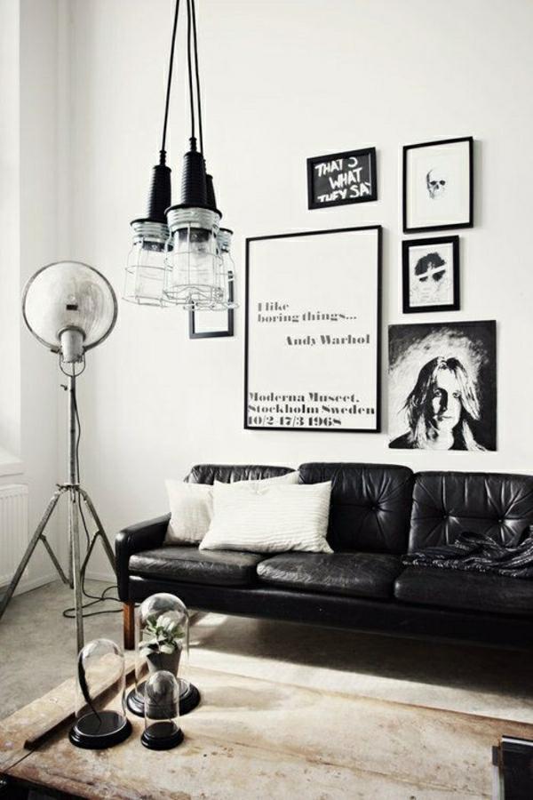 chambre-moderne-intérieu-blanc-noir-salon-cocooning-maison-cocooning-canapé-en-cuir-noir