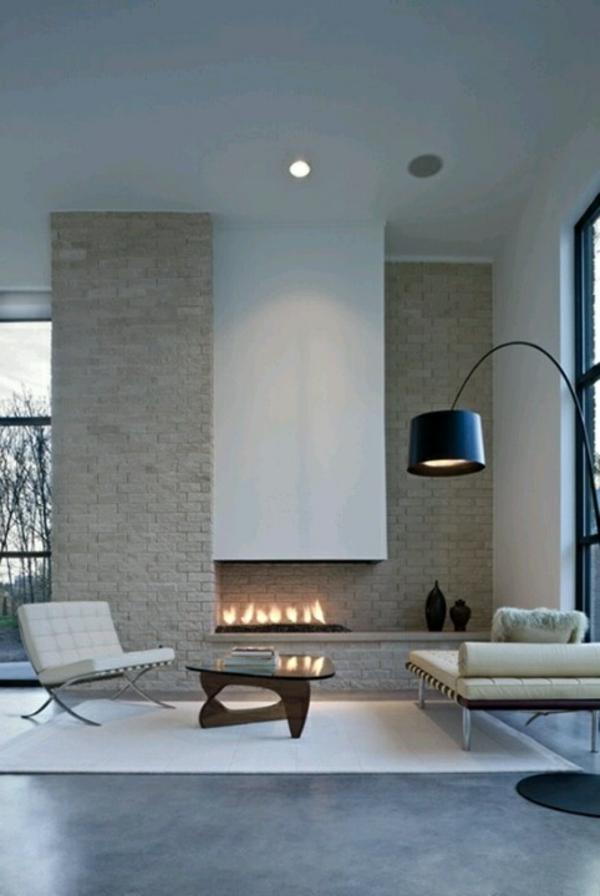 chambre-zen-ambiance-en-gris-et-cheminée-murale