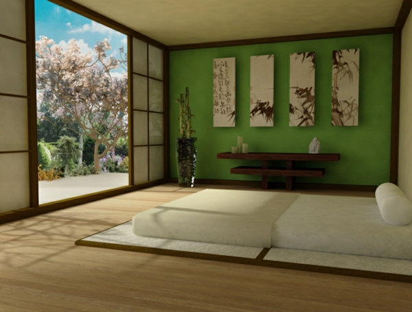 Chambre Verte Zen : Chambre zen relaxante et harmonieuse