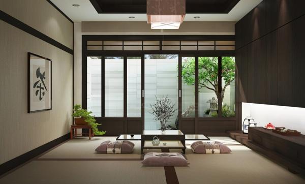 chambre-zen-salle-de-déjeuner-en-style-oriental
