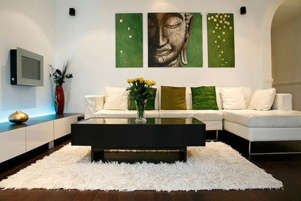 chambre-zen-peinture-bouddha-tapis-blanc-décor-fraîs
