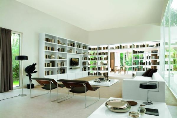 chambre-zen-une-chambre-moderne-étagères-blanches