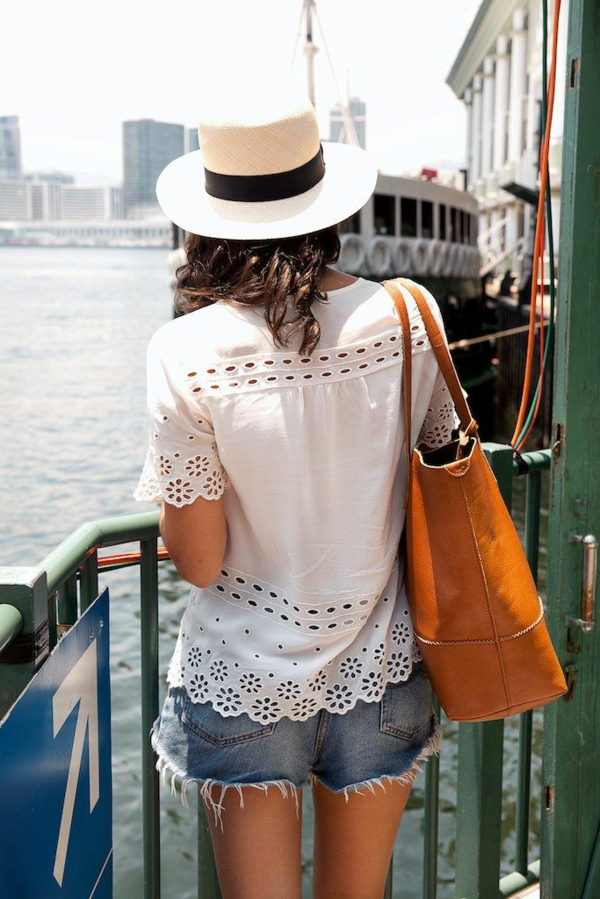chapeau-paille-beige-chemise-blanc-pantalon-court-en-denim