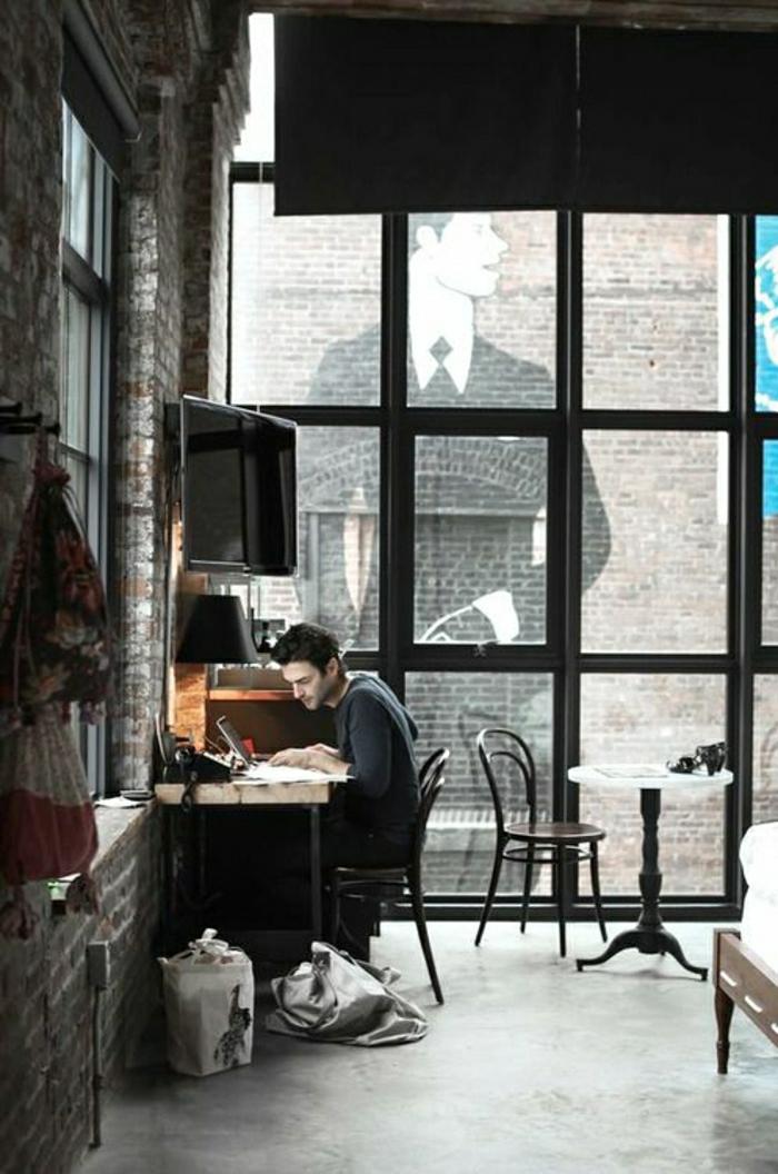 coin-de-travail-ateliers-et-lofts-meuble-industriel-aménagement-industriel-chambre-a-coucher