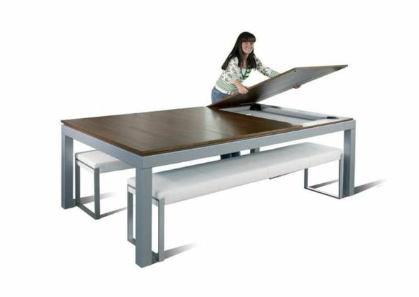 La table billard convertible une solution jolie et - Table basse convertible en table a manger ...