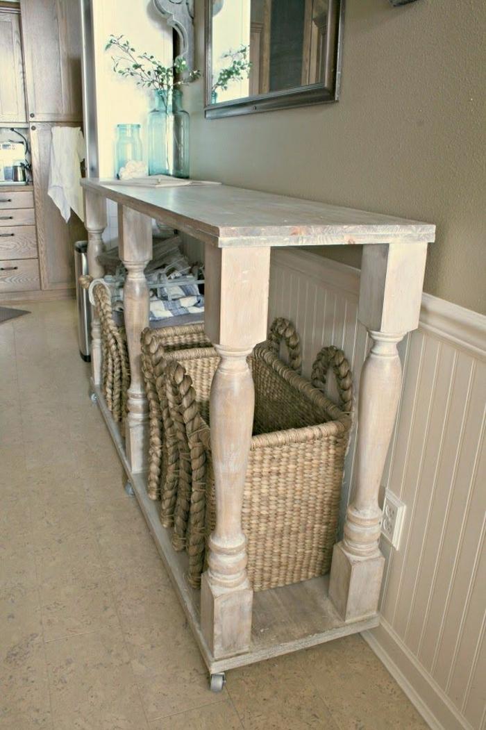 console-en-bois-meuble-d-appoint-rétro-sol-en-lin-murs-beiges