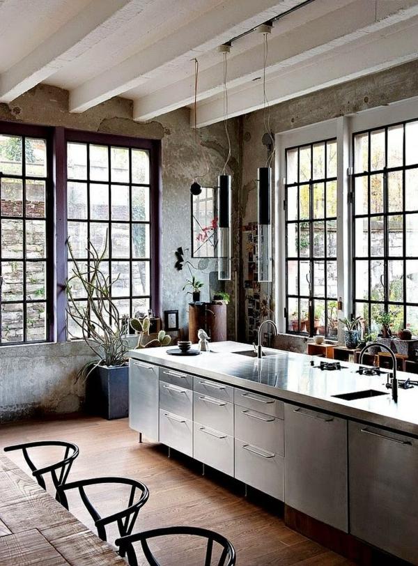 cuisine-contemporaine-modele-table-et-chaises-vasque-metal