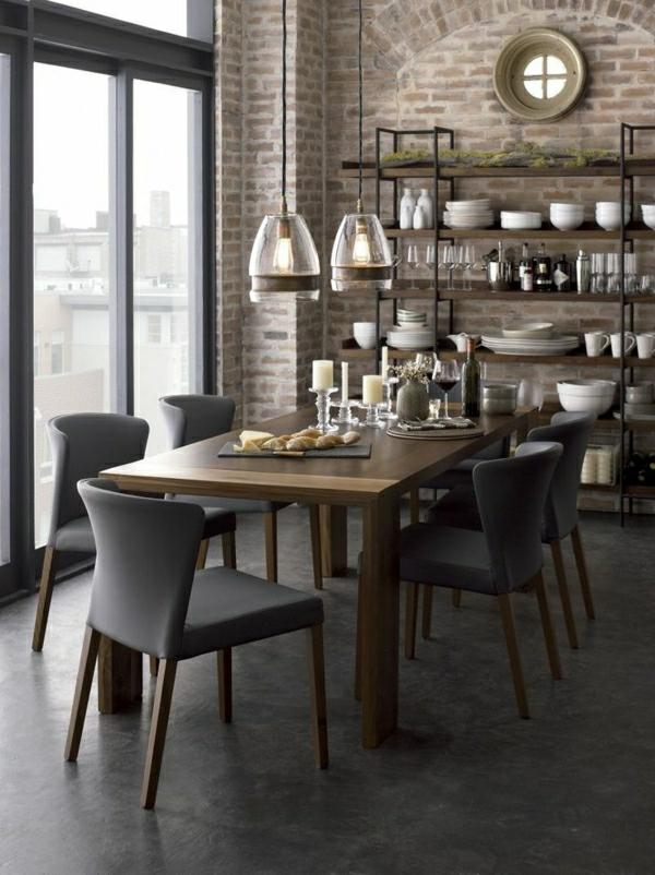 cuisine-industrielle-table-en-bois-étagère-en-bois-et-fer