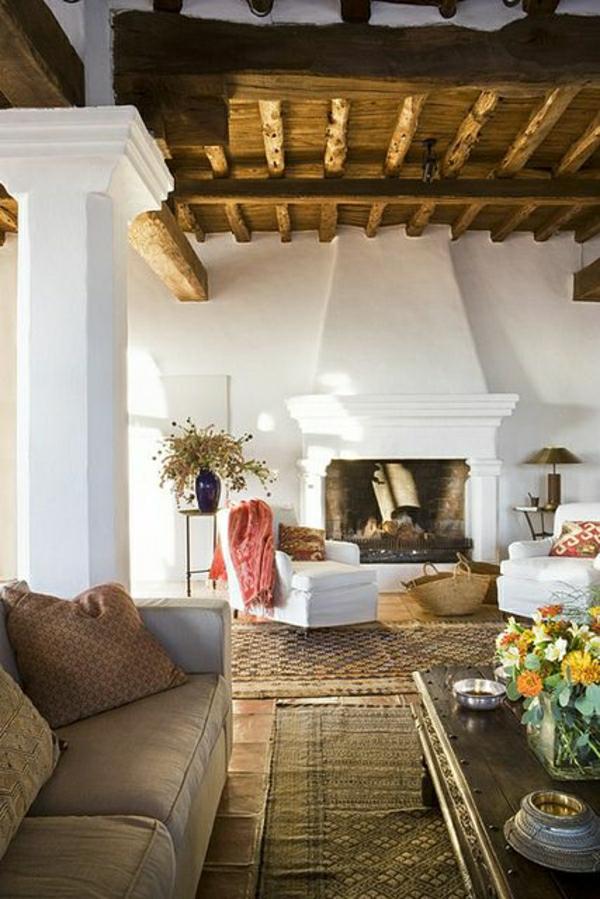 décorer-son-salon-rustique-cheminée