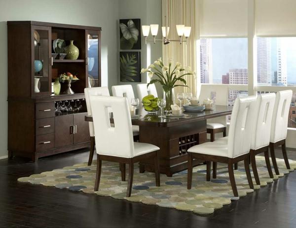 design-chaises-salle-à-manger-idee-creative-blanc-buffet