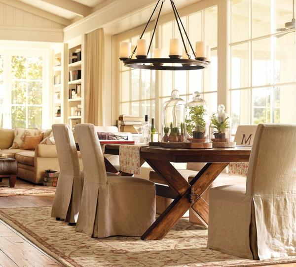 design-chaises-salle-à-manger-idee-creative -lustre-avec-bougies