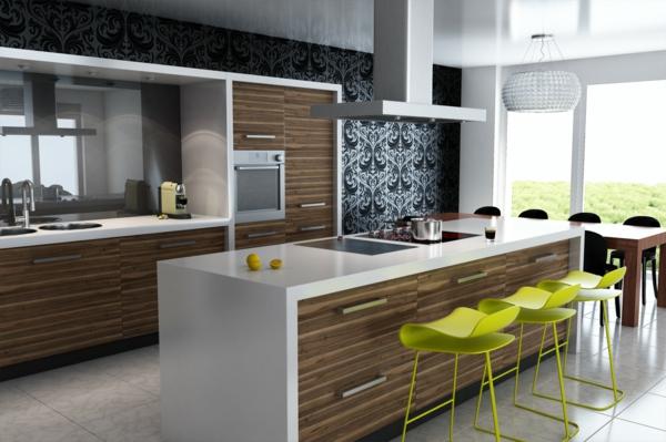 design-cuisines-contemporaines-chaises-vertes