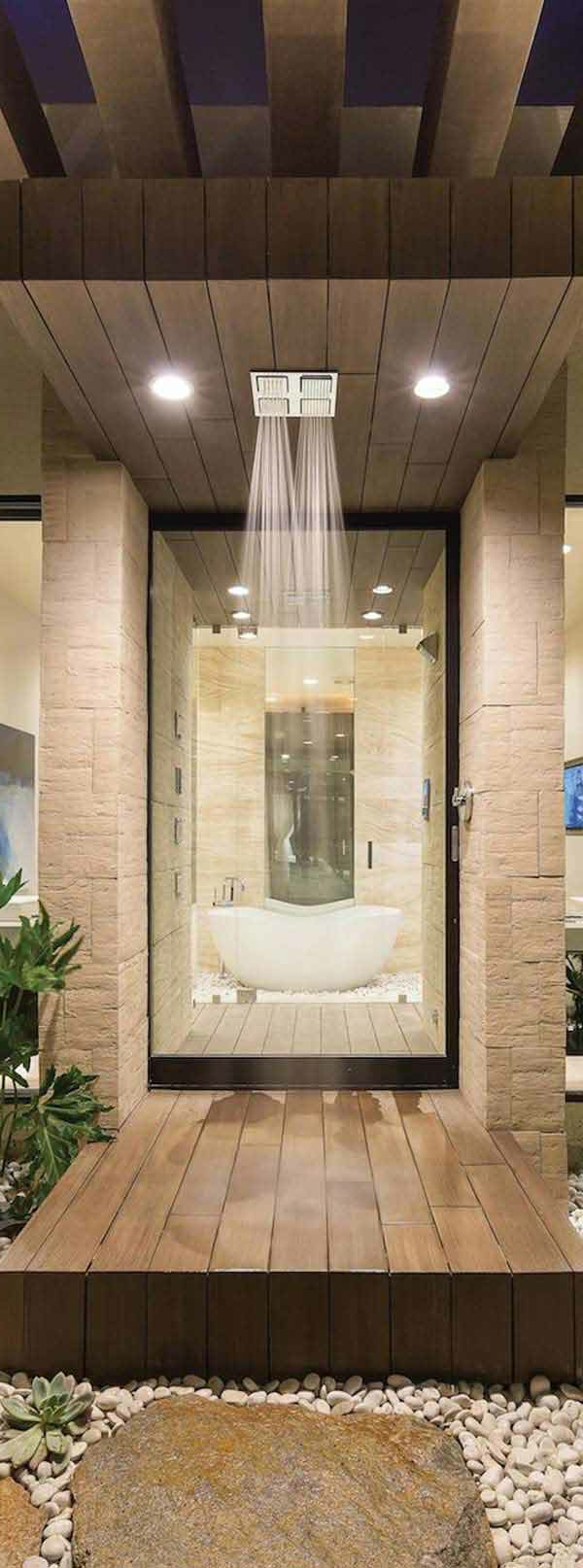 douche-pluie-décoration-avec-des-pierres