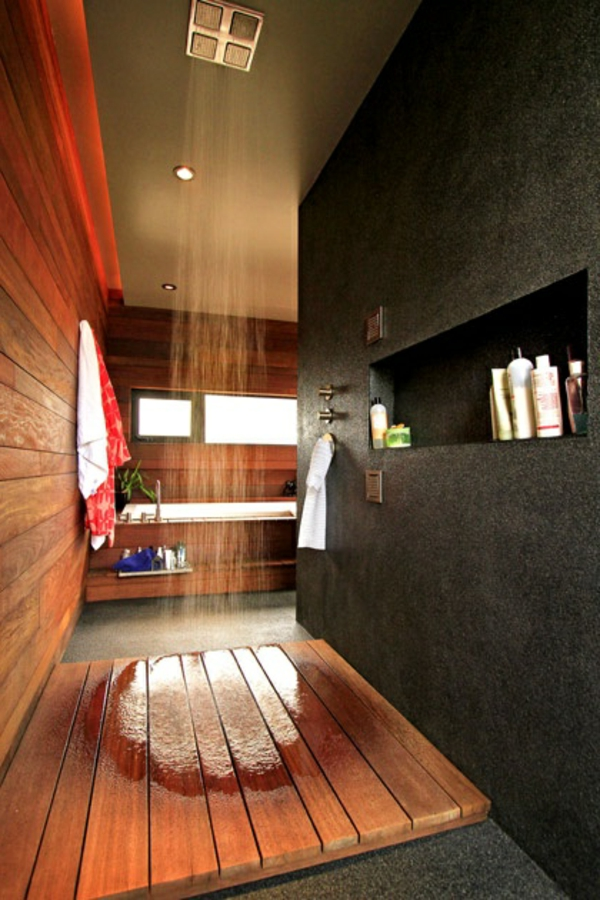 Douche En Bois Interieur : La douche pluie – designs fantastiques de douches contemporaines