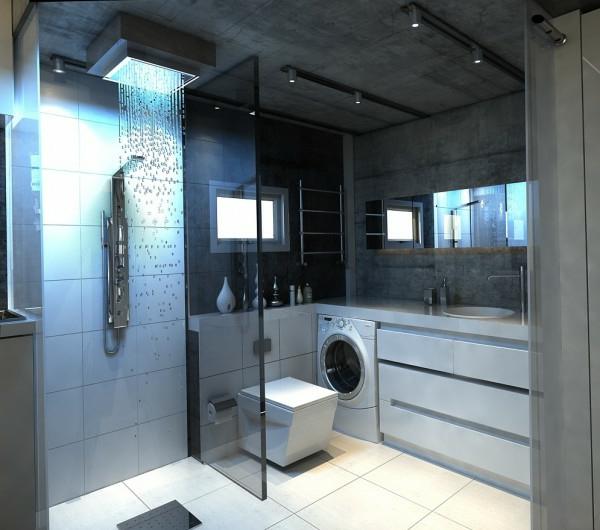 douche-pluie-salle-de-bains-grise-élégante