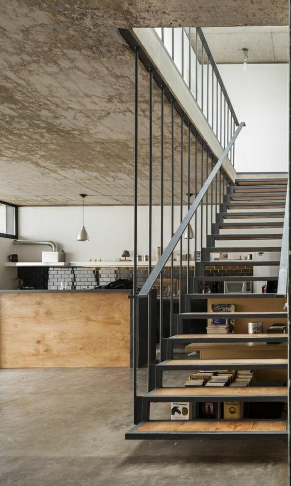 escalier-industriel-aménagement-industriel-cuisine-vaste-mode