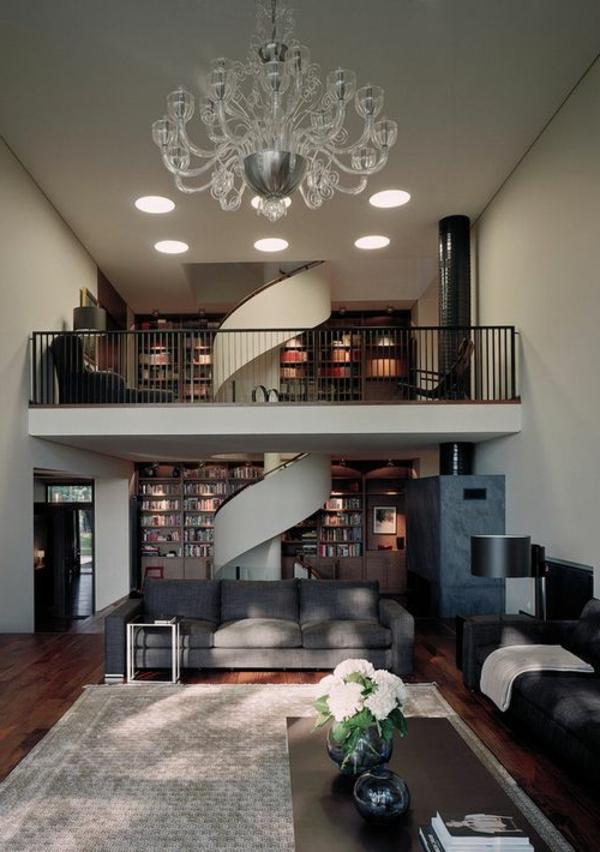 escalier-pour-mezzanine-design-tournant-et-plafonnier-cristal