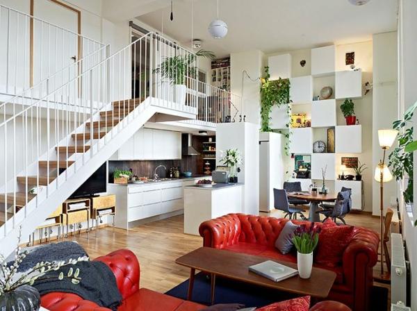 escalier-pour-mezzanine-sofas-rouges-capitonnés