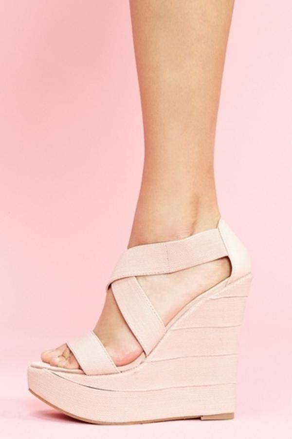 escarpine-compensé-rose-en-cuir-femme-chaussure-à-talons-mode