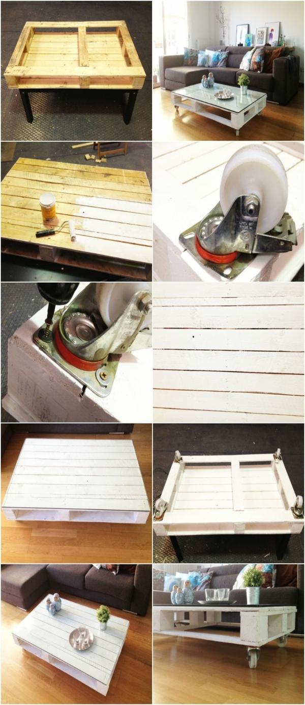 fabriquer-une-table-basse-avec-palette-pour-le-salon-canapé-gris-fleurs