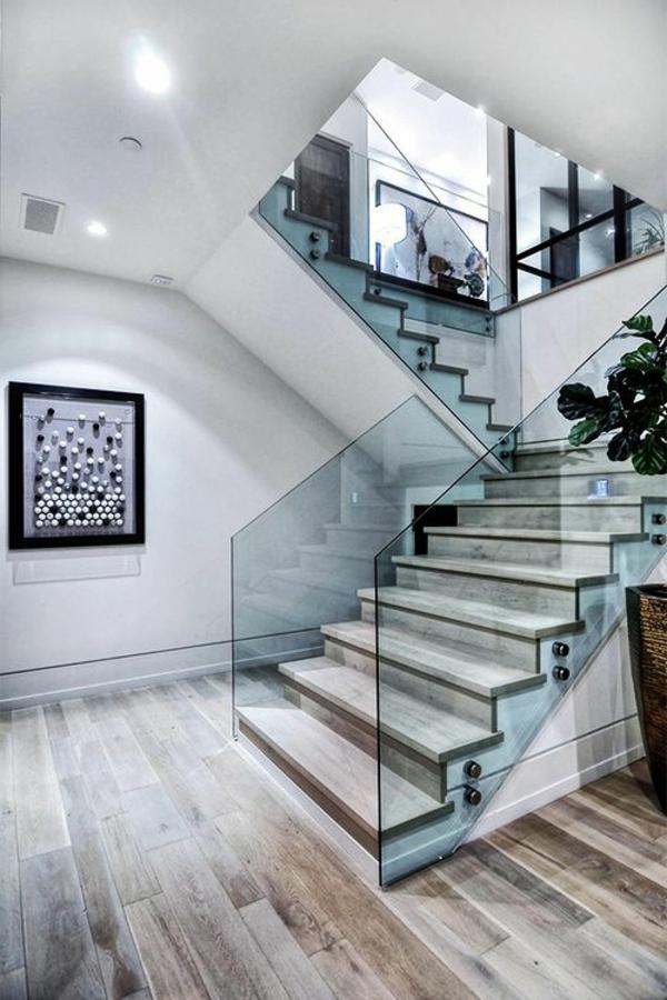 Designs d 39 escaliers avec garde corps en verre - Escalier ouvert salon ...