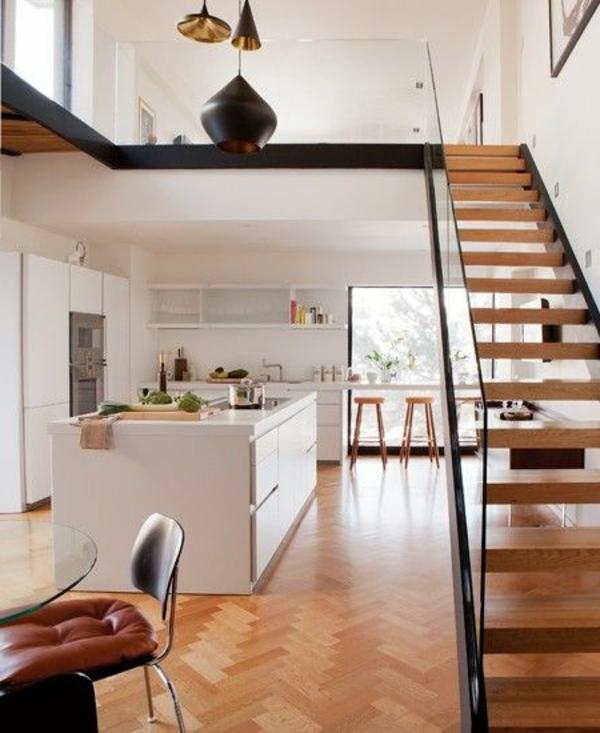 Designs d 39 escaliers avec garde corps en verre for Cuisine moderne loft