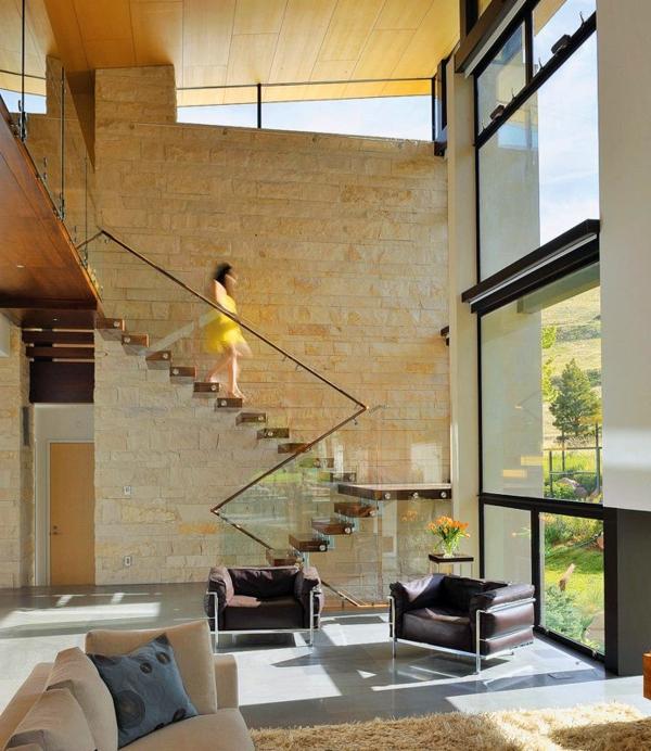 Garde Corps Bois Verre : garde-corps en verre, grande maison contemporaine avec un escalier