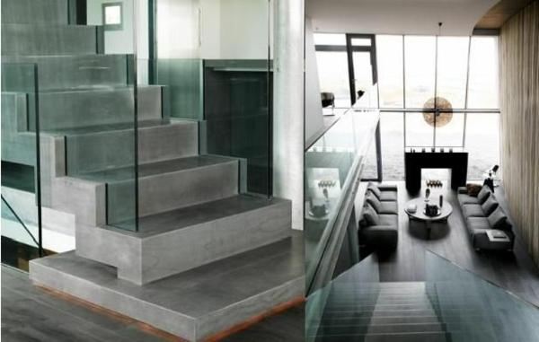 garde-corps-en-verre-escaliers-en-béton