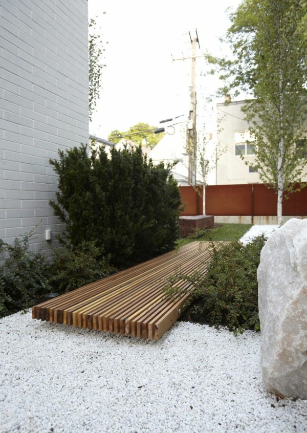 gravier blanc pour allée, caillou blanc, maison en bois, cour, jardin