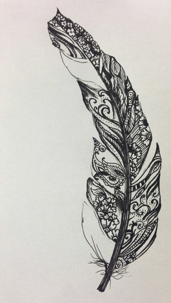 Henn Naturel Coration Tatouage Plume Graphique Id Henne Une Femme Heureuse