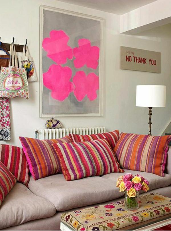 idée-décoration-salon-mural-rose