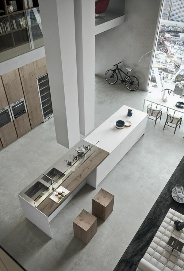 idee-deco-cuisine-moderne-vue-haute-bar-chaises-cuisine-blanc-et-bois-modeles