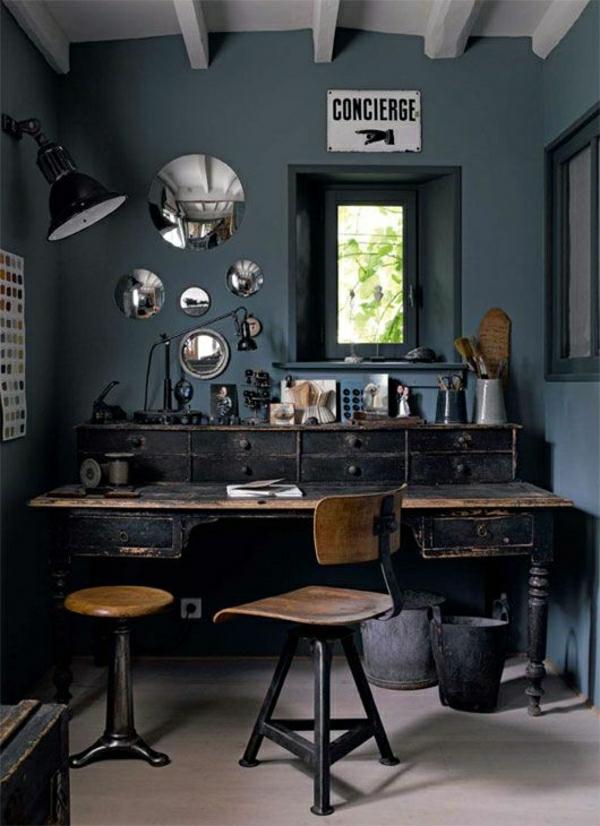 intérieur-industriel-peintures-murales-bureau-vintage-industriel-murs-gris