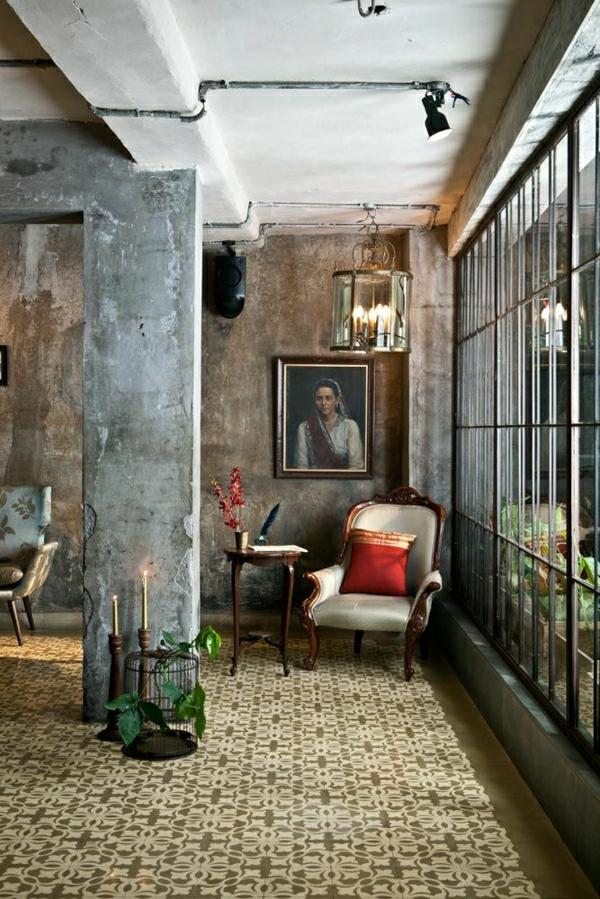 intérieur-industriel-peintures-murales-chaise-vintage-retro-fenetre-grande