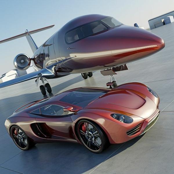 jet-privé-avec-voiture-de-luxe-rouge