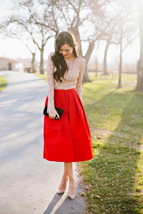 jupe-midi-rouge-femme-mode-arbres-jupe-évasée-rouge