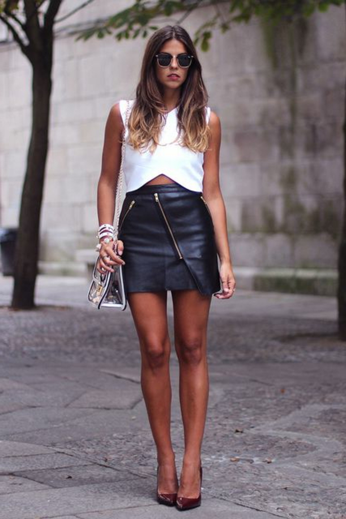 jupe-patineuse-noir-en-cuir-femme-moderne-talons-hauts-élégants