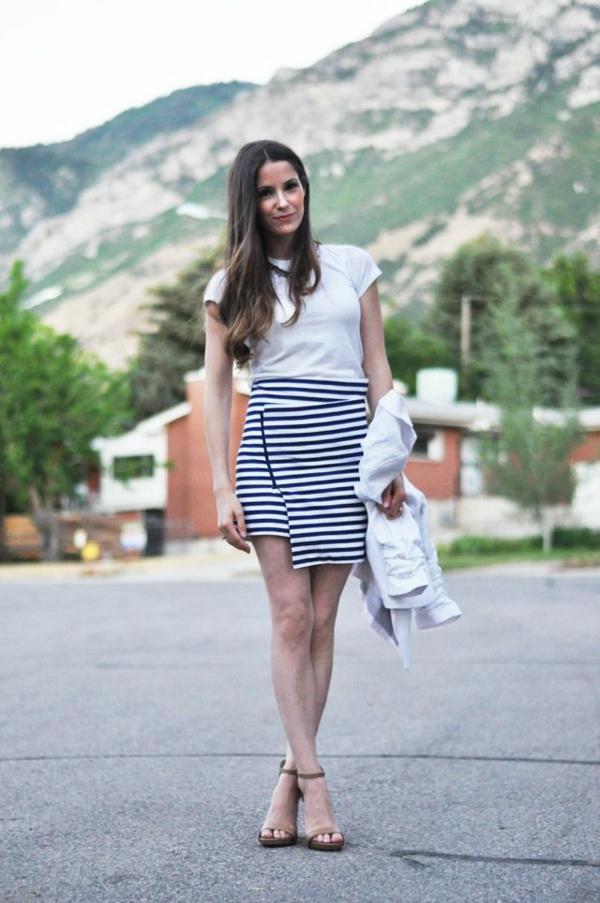 jupe-portefeuille-à-rayures-horizontales