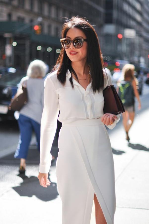 jupe-portefeuille-et-tenue-blanche-élégante