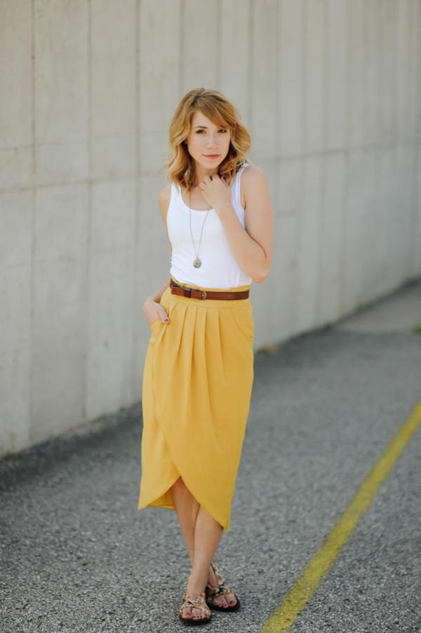 jupe-portefeuille-midi-jupe-jaune
